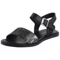 Sandały letnie czarny płaska podeszwa licowa marki Nessi