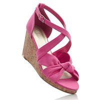 Sandały na koturnie różowy marki Bonprix