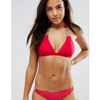 chain detail push up triangle bikini top a-f cup - red marki Wolf & whistle