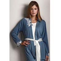Damska bambusowa piżama CARINA ze szlafrokiem XL Niebiesko-szary