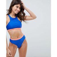 Vero moda high neck bikini top with contrast band - blue