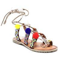 Marco tozzi 2-28128-28 multikolor - sandały z pomponami