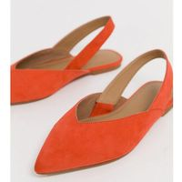 ASOS DESIGN Wide Fit Leisure high vamp slingback ballet flats in orange - Pink