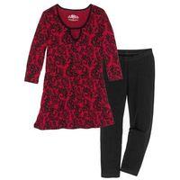 Piżama z legginsami 3/4 bonprix czarno-czerwony z nadrukiem, w 7 rozmiarach