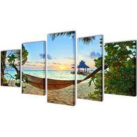 Vidaxl zestaw obrazów canvas 100 x 50 cm plaża i hamak