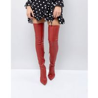 River island leather look over the knee heeled boots - red