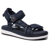 Tommy jeans Sandały - mesh webbing sporty sandal en0en00568 midnight 403