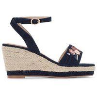 Płócienne sandały na koturnie, na szerokie stopy 38-45, kolor niebieski