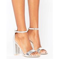 silver barely there block heeled sandals - silver marki Glamorous