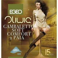 Podkolanówki oliwia soft comfort 15 den a'2 uniwersalny, beż/natural, egeo marki Egeo