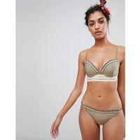 River Island plunge bikini top with gold trim in khaki - Green
