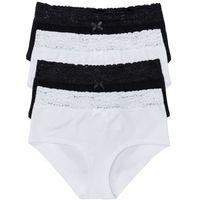 """Figi """"maxi panty"""" (4 pary) bonprix czarno-biały, bawełna"""