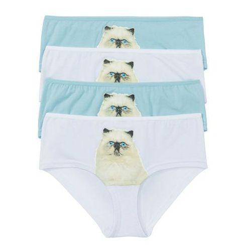 """Figi """"panty"""" z fotodrukiem (4 pary) biało-niebieski z nadrukiem kota, Bonprix, S-XXXL"""