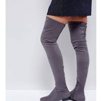 Asos kasba flat over the knee boots - grey, Asos design