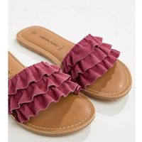 London Rebel Wide Fit Suede Ruffle Sliders - Pink, kolor różowy