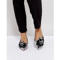 lily of the valley embellished ballet flats - silver marki Asos