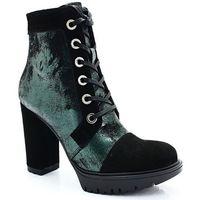 Ulmani 24519 czarny+zielony - sznurowane botki, Ulmani shoes
