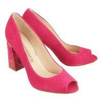 BRAVO MODA 1603 pink zamsz+papuga, czółenka damskie, kolor różowy