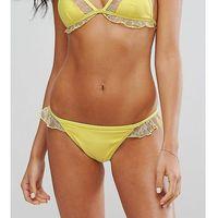 Peek & Beau Lace Insert Bikini Bottom - Yellow, kolor żółty