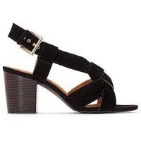 Skórzane sandały ze skrzyżowanymi paskami, kolor czarny