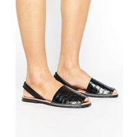 leather flat croc print sandal - black marki Park lane