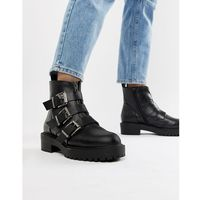 ASOS DESIGN Arco chunky multi buckle ankle boots - Black, ankle