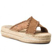 Espadryle TOMMY HILFIGER - Interlace Suede Flatform Sandal FW0FW03392 Summer Cognac 929