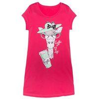 Koszula nocna bonprix różowy hibiskus z nadrukiem, bawełna