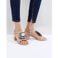 low heel leather sandal with raffia embellished flower - pink marki Dune