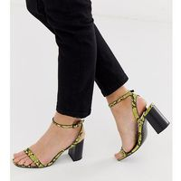 hong kong barely there block heeled sandals in yellow snake - multi, Asos design