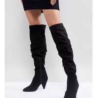 Miss selfridge over the knee ruched boot - black