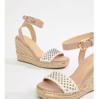 River Island Wide Fit espadrille wedge heels in nude - Pink