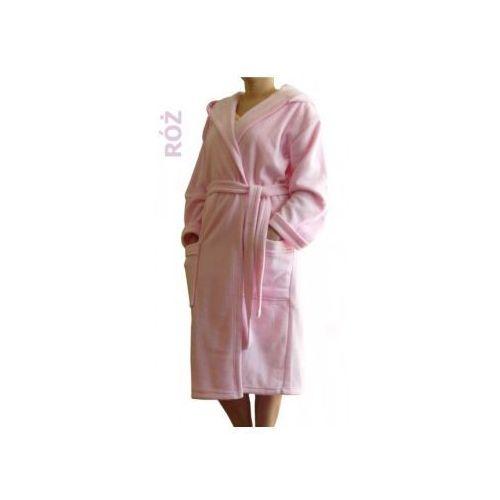Szlafrok Termofrota - Różowy z kapturem, kolor różowy