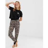 New look amour animal pyjama jogger set in black pattern - black