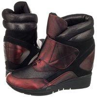 Sneakersy Sergio Leone Czarne/Bordowe 22395 (SL161-b), 22395 Bordo