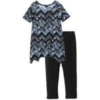 Piżama ze spodniami 3/4 bonprix czarno-jasnoniebiesko-szary wzorzysty, w 2 rozmiarach