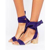 Dune London Jonee Suede Wraparound Block Heel Sandals - Navy, kolor szary