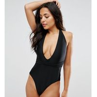 Wolf & whistle deep plunge swimsuit with cross straps b-f cup - black
