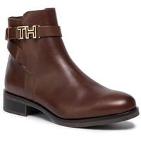 Botki TOMMY HILFIGER - Th Hardware Leather Flat Bootie FW0FW04280 Coffee 211