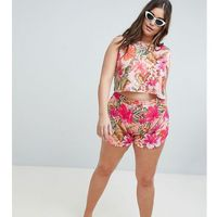 ASOS DESIGN curve tropical ruched side short jersey beach co ord - Multi