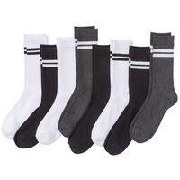 Skarpetki sportowe (8 par) bonprix antracytowy melanż + czarny + biały