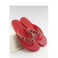 Eleganckie klapki japonki z kamieniami czerwone jh69 red, Inello