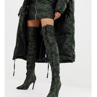 x laquan smith padded over the knee heeled boot in camo jacquard - multi, Asos design