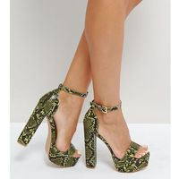 Missguided Platform Heeled Snake Print Sandal - Green