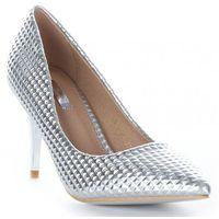 Modne i eleganckie szpilki damskie bellucci srebrne marki Belluci