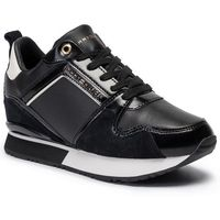 Sneakersy TOMMY HILFIGER - Leather Wedge Sneaker FW0FW04420 Black 990