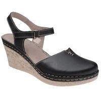 Sandały MANITU 920226-1 Schwarz Czarne na koturnie - Czarny, kolor czarny