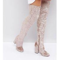 Asos katcher heeled over the knee boots - beige marki Asos design
