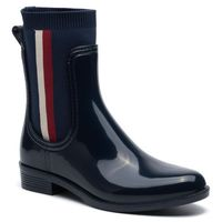 Tommy hilfiger Kalosze - knitted rain boot fw0fw04125 tommy navy 406