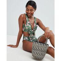 PrettyLittleThing Palm Print Tie Front Bikini Top - Multi, bikini